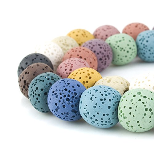 BEADNOVA 12mm Color Lava Bead Rock Stone Gemstone semi precious stone Beads Round Loose Beads for Jewelry Making Findings Accessories 31~33pcs (12mm x 1 Strand, Mixed Color)