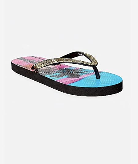 9e73dd1a1fb1 Justice Girls Beach Sunset Glitter flip Flops Black Palm (6 7)