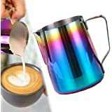Milk Frothing Pitcher, Stainless Steel Milk Frothing Cup Espresso Steaming Pitcher Perfect for Espresso Machines, Milk Frothe
