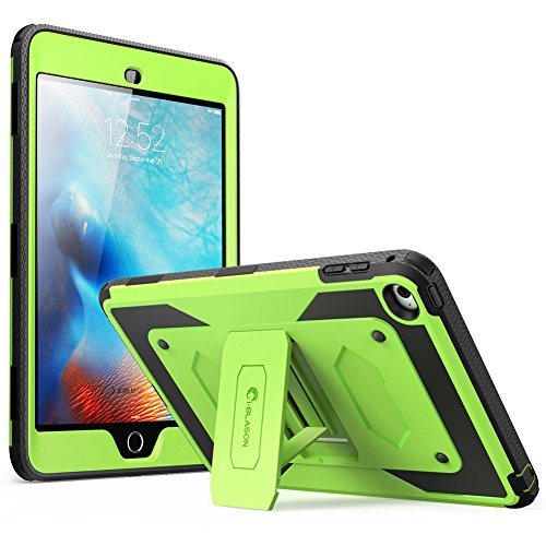 i-Blason Apple iPad Mini 4 2015 Armorbox Dual Layer Hybrid Full-body Protective Kickstand Case with Front Cover  /  Integrated Screen Protector  /  Shock Absorbing Bumpers (Green)