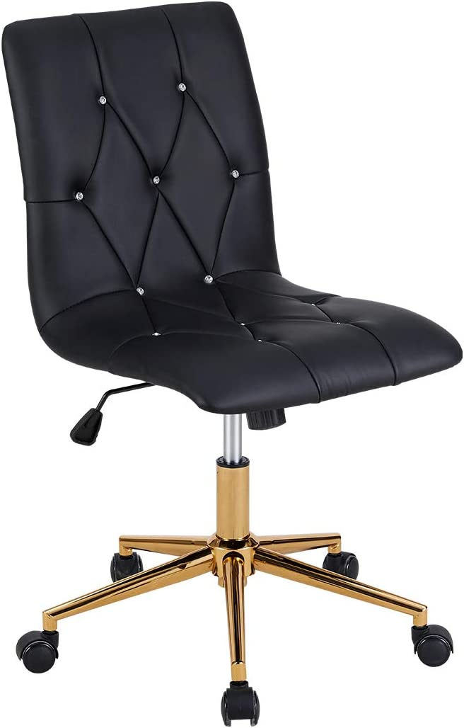 Amazon Com Duhome Home Office Chair Armless Office Chairs High Back Adjustable Swivel Task Computer Executive Pu Leather Seat Diamond Tufted Chair Computer Desk Receptionist Rolling Chair With Gold Base Black Kitchen