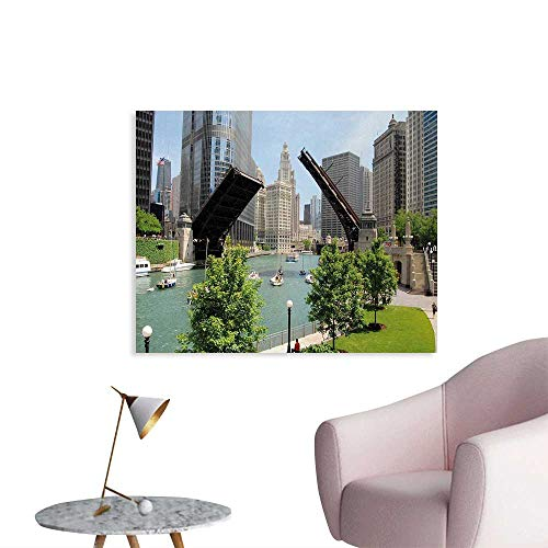 Tudouhoho United States The Office Poster Downtown Chicago Illinois Finance Business Center Lake Michigan Avenue Bridge Wall Sticker Decals Multicolor W32 xL24 ()