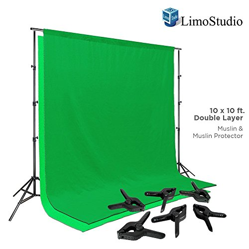 LimoStudio-Photo-Video-Studio-10-ft-Adjustable-Muslin-Backdrop-Support-System-with-Green-Background-Muslin-Support-Clamp-Backdrop-Stand-Cross-Bar-Solid-Stable-Structure-Photo-Studio-AGG2063