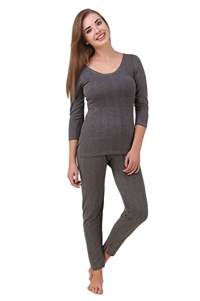 49b28c0f0c71a1 Hap Women s Cotton Quilted Thermal 3 4th Sleeves Top and Trouser ...