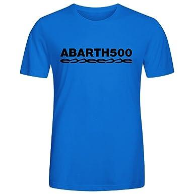 500 Abarth Esseesse T-Shirt Manica Corta Azul: Amazon.es: Ropa y ...
