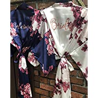 Bridesmaid Gift, Floral Bridesmaid Robes, Wedding Robe, Bridal Party Gift, Bridesmaid Robe, Satin Robe, Bridal Party Robes, Kimono