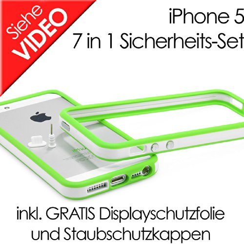 IPhone 5 TPU 7in1 Sicherheits-Set - Silikon:grün TPU:weiss