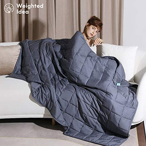 Weighted Idea Cool Weighted Blanket Twin Size 15 lbs Adults (48''x78'', Grey)