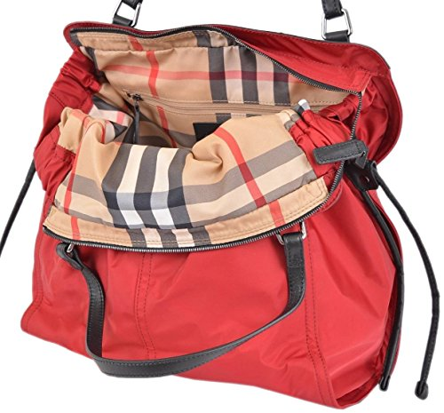 Nova Check Tote - Burberry Women's Red Nylon Nova Check Packable Tote Purse