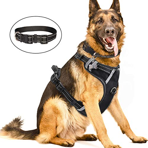 WINSEE Dog Harness No Pull, Pet Harnesses with Dog Collar, Adjustable Reflective Oxford Outdoor Vest, Front/Back Leash Clips for Small, Medium, Large, Extra Large Dogs, Easy Control Handle for Walking (Best Dog Harness For German Shepherd)