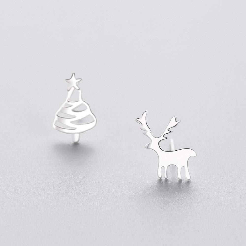 IminiJewelry Cute Deer Christmas Tree Sterling Silver Studs Earrings for Women Teen Girls Nice Gifts Hypoallergenic