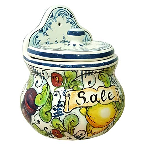 (CERAMICHE D'ARTE PARRINI- Italian Ceramic Art Pottery Jar Salt Box Wall Decorated Tuscan Hand Painted Made in ITALY)
