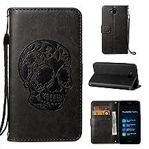 QHYT Phone Case for Huawei Enjoy 5 / Huawei Y6 Pro / TIT-AL00, Wallet Function with Handle Strap Wrist Design Lanyard Embossed Skull Head Pattern, Black