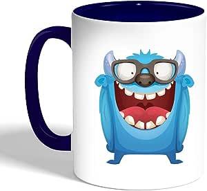كوب سيراميك للقهوة، لون ازرق، بتصميم رسوم كرتونية
