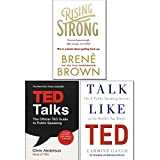 Rising Strong, Ted Talks and Talk Like Ted 3 Books Collection Set