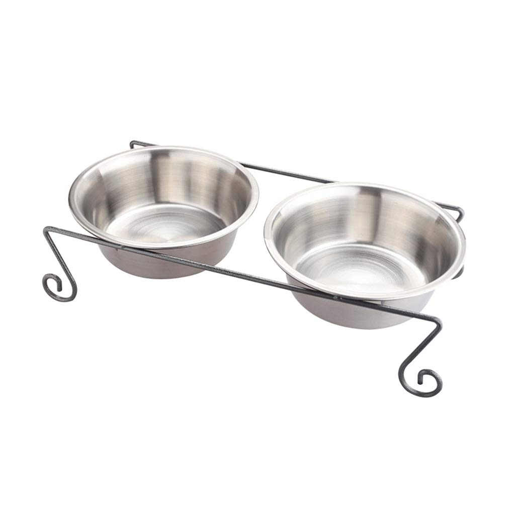 Balacoo Dual Bowl Dog Feeder Raised Dog Food Water Dish Pet Bowl Feeder by Balacoo