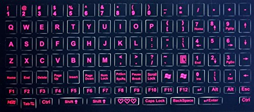 Royal Green KEYBOARD-ENG-STICKER-PNK Glowing Fluorescent Keyboards Stickers for PC, Large Lettering Work Easily and Type Faster in Dimly Lit Spaces See Keyboard Clearly Day/Night English, Neon Pink