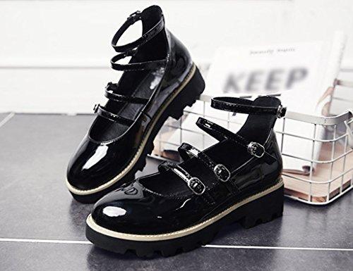 36 Féminines Hwf Couleur Noir Taille Profondes Plats Bouche Rétro Britannique Cuir Style Printemps Chaussures De Peu Femme pOzqr6anpx