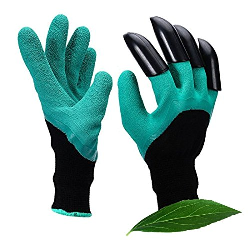 Potentcera Genie Garden Gloves with claws Water durable Puncture resistant gardening Gloves Dig and Plant Safe for Rose Pruning Digging & Planting Nursery Plants glove - As Seen On TV (green + Black