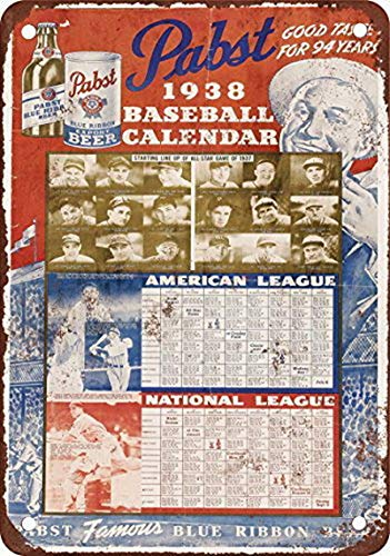 Ugtell Funny Pabst Baseball Calendar Vintage Look Reproduction Metal Tin Sign 12x16 inches Home Decor Wall Art Decorative - Baseball Tin