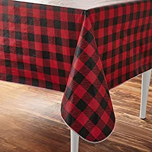 Amazon Com Clever Home Holiday Time Vinyl Tablecloth Red