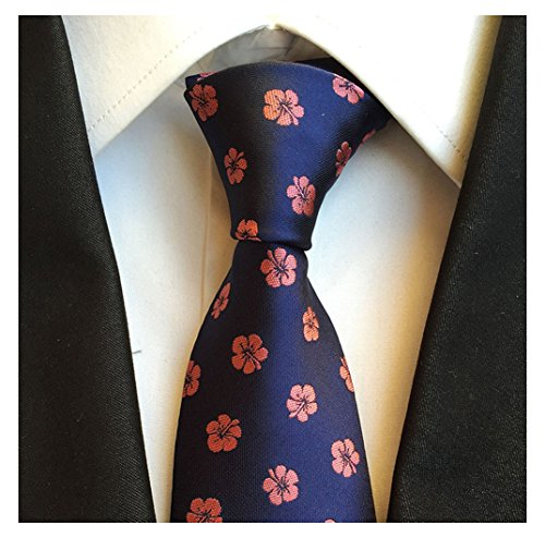 Secdtie Men's Stain Floral Silk Jacquard Woven Self Ties Repp Casual Neckties