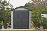 Keter Oakland 7.5 x 7 Outdoor Duotech Storage Shed, Paintable with Window and Skylight, Grey