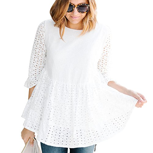 Chicwish Women's Loveliness Attack White Eyelet Embroidered Dolly Tunic Top (Eyelet Top)