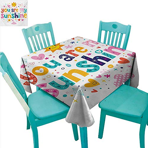 Quote Fabric Dust-Proof Table Cover Cute Love Text Print Made by Fun Happy Animal and Heart Figures Kids Nursery Theme Runners,Gatsby Wedding,Glam Wedding Decor,Vintage Weddings 60