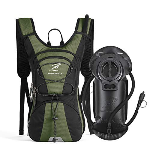 SHARKMOUTH FLYHIKER Hiking Hydration Backpack Pack with 2.5L BPA Free Water Bladder, Lightweight and Comfortable for Short Day Hikes, Day Trips and Trails