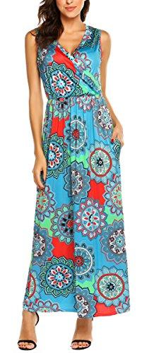 SimpleFun Ladies Summer Maxi Dress for Women Plus Size Ethnic Style Sleeveless Dress (Light Blue,XXL)