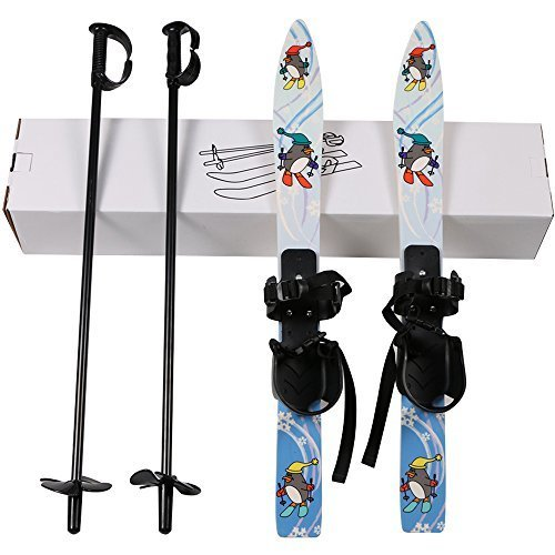 I-sport Kids Beginner Ski Sets Snow Skis and Poles with Universal Bindings for Age 2-4 by ISPORT