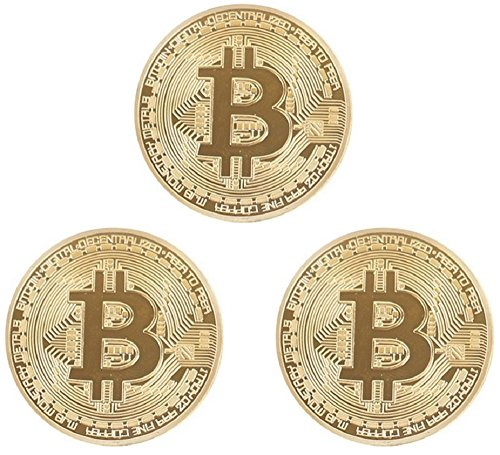 Solid Gold Coin (Gold Bitcoin Coins By CryptoNow | 3PCs Triple Gold Bitcoins Set, Collectors Shiny Gift Token, Blockchain Coin, Collectible Collection Coin)