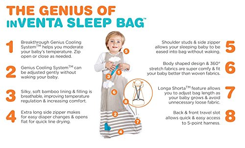 Love To Dream Inventa Sleep Bag/Wearable Blanket with Unique Vented Cooling System, Luxurious Super-Soft Cotton, Stylish Fashion Design, 1.0 TOG, 4-12 Months, Light Blue by Love to Dream (Image #2)'