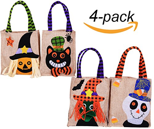 NinkyNonk Trick or Treat Halloween Tote Bag Halloween baskets Linen Party Gift Candy Bag Trick or Treat Bag for Kids, 4 Pack