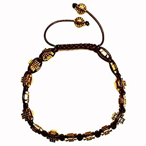 Rave Mens Bracelet Shamballa Gold Cross Beads in Plated Alloy and Brown Wax Cord Size Adjustable