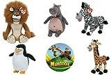 : Ty Madagascar Beanie Baby Set of 5 Beanie Babies Alex, Gloria, Marty, Melman & Skipper