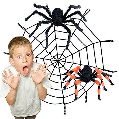 11FT Spider Web and Giant Spiders Halloween (Spider Web Decorations Giant)