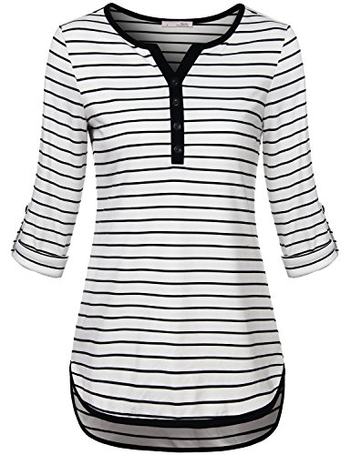 Messic Women's V-Neck 3/4 Roll Up Sleeve High Low Hem Casual Striped Tunic Shirts