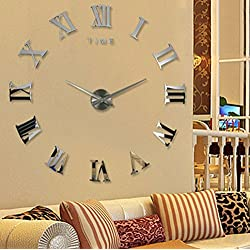 Modern Design DIY 3D Big Wall Clock Home Decor Quartz Horloge Wall Watch Stickers Reloj De Pared Acrylic Mirror Clocks 20 Inch (Silver Color)