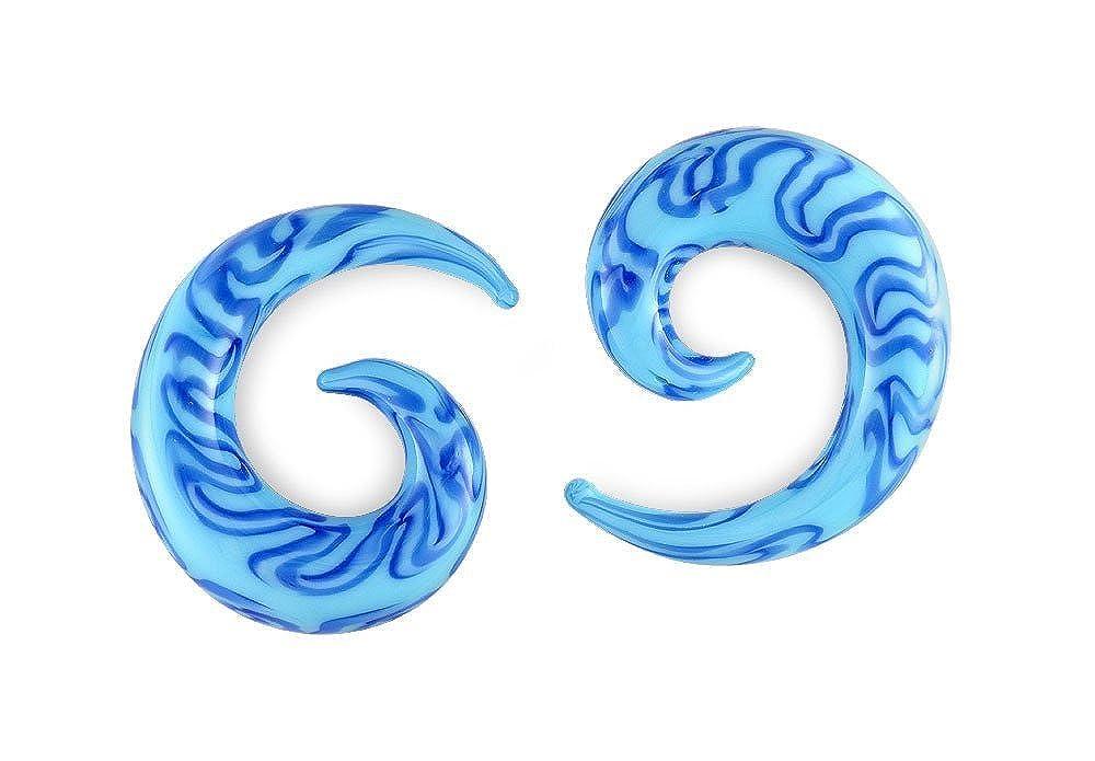 Pair Blues Pyrex Glass Spiral 1//2 inch 13mm