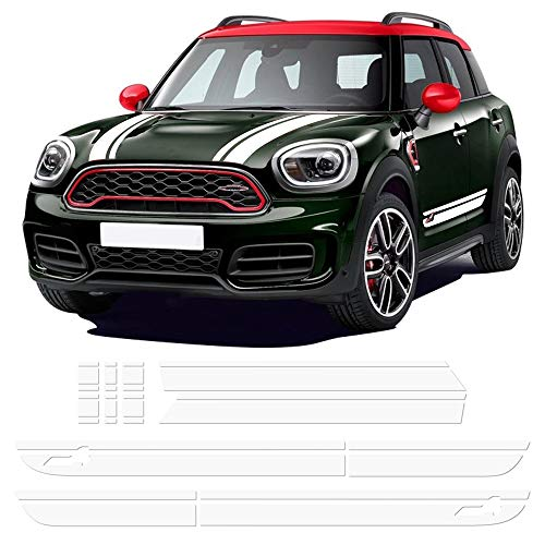 (Charminghorse Hood Bonnet Side Stripe Graphics Sticker Trunk Rear Decal Stickers Kit for Mini Cooper S Countryman F60 2017- Present (Gloss White))