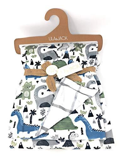 Lila & Jack Tropical Multi Dinosaur Polyester Baby Reversible Blanket | 30 X 40 in