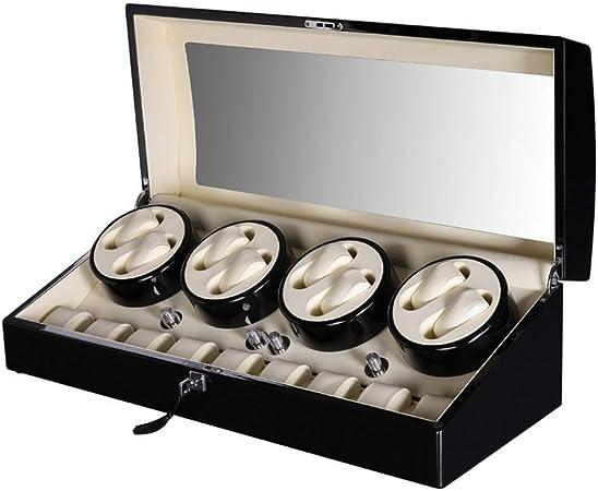 DKZK Caja para Relojes AutomáTicos 8 + 9-100% De Madera Hecha A Mano Watch Winder MáQuina De Bobina De Reloj AutomáTica ** con Caja De ExhibicióN Giratoria De Motor Silencioso: Amazon.es: Hogar