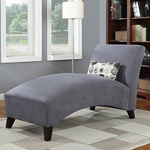 Chaise Lounge Chair - Living Room Contemporary Furniture - 100 % Polyester Microfiber Upholstered Over Wood Frame - Accent Pillow Included (Gray)