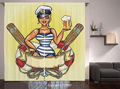 Thermal Insulated Blackout Window Curtain [ Girls,Pin Up Sexy Sailor Girl Lifebuoy with Captain Hat and Costume Glass of Beer Feminine,Multicolor ] for Living Room Bedroom Dorm Room Classroom Kitchen