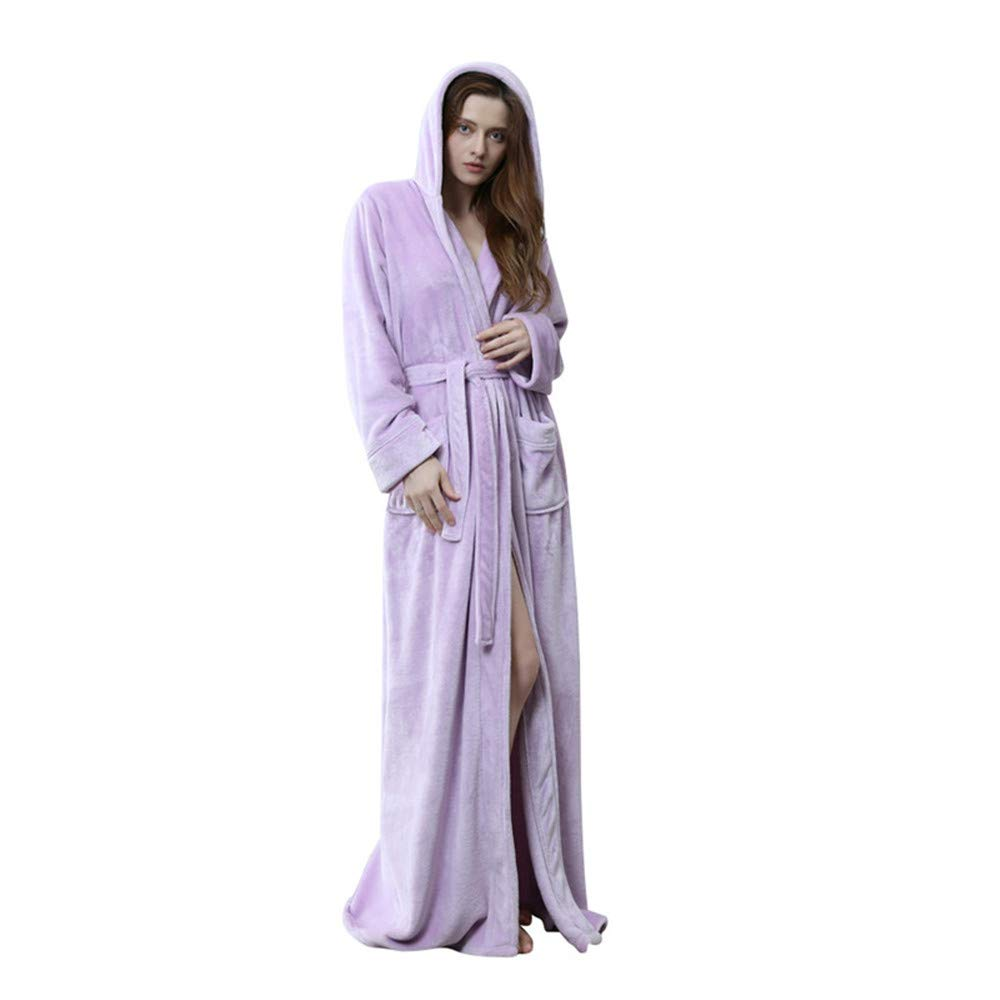 UHBGT Flannel Robe Bathrobes Pajamas, Winter Classical Lightweight Warm Couple Pajamas Double Pockets Long Hooded Housecoat Robe Long Sleeve for Men Women Spa Pool Robe,Beige,L