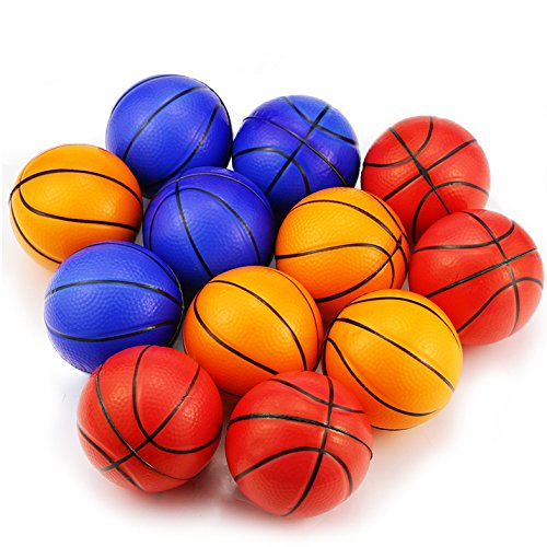 WFPLUS Mini Sports Stress Balls Basketballs Fun, 12-pack