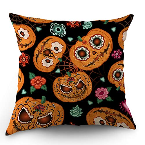 Moslion Pumpkin Pillow Case Halloween Skull Evil Face Rose Flowers Spiderweb Heart Throw Pillow Cover 18x18 Inch Cotton Linen Canvas Decorative Cushion Cover Happy Father's Day Sofa Bed Orange Black]()