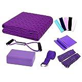 niceEshop(TM) Yoga Starter Kit - 7 Piece Essentials Beginners Bundle Include Yoga Towel,Yoga Blocks,Yoga Strap,Stretch Band,Yoga Sock,Yoga Head Band,Spring Cable